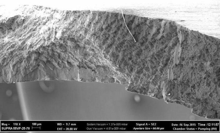 Изображение поверхности разрушения в электронном микроскопе, х110