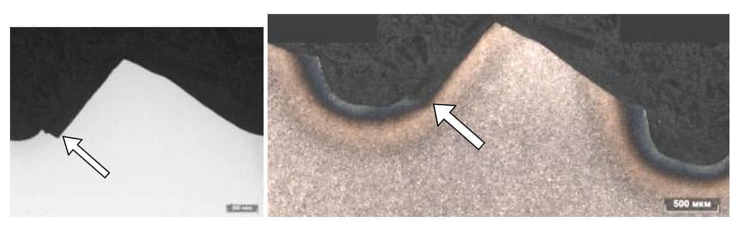 Изображение зуба вала со сколом до и после травления