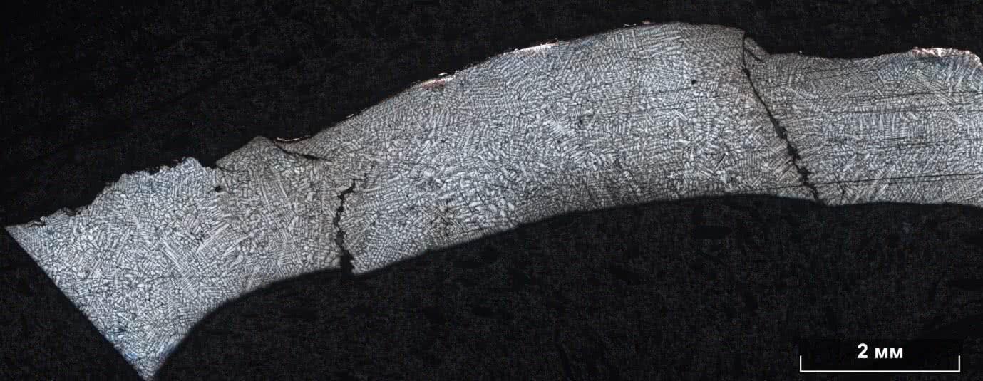 Микроструктура одной из лопаток после травления