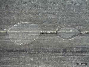 Металлографическое исследование электросварной трубы, шов 1 х35
