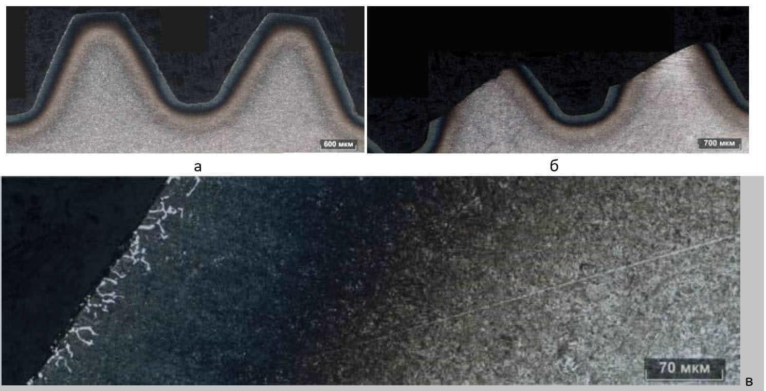 Слой цианирования на поверхности зубов после травления а, б – панорамное изображение при х100, в – панорамное изображение при х500